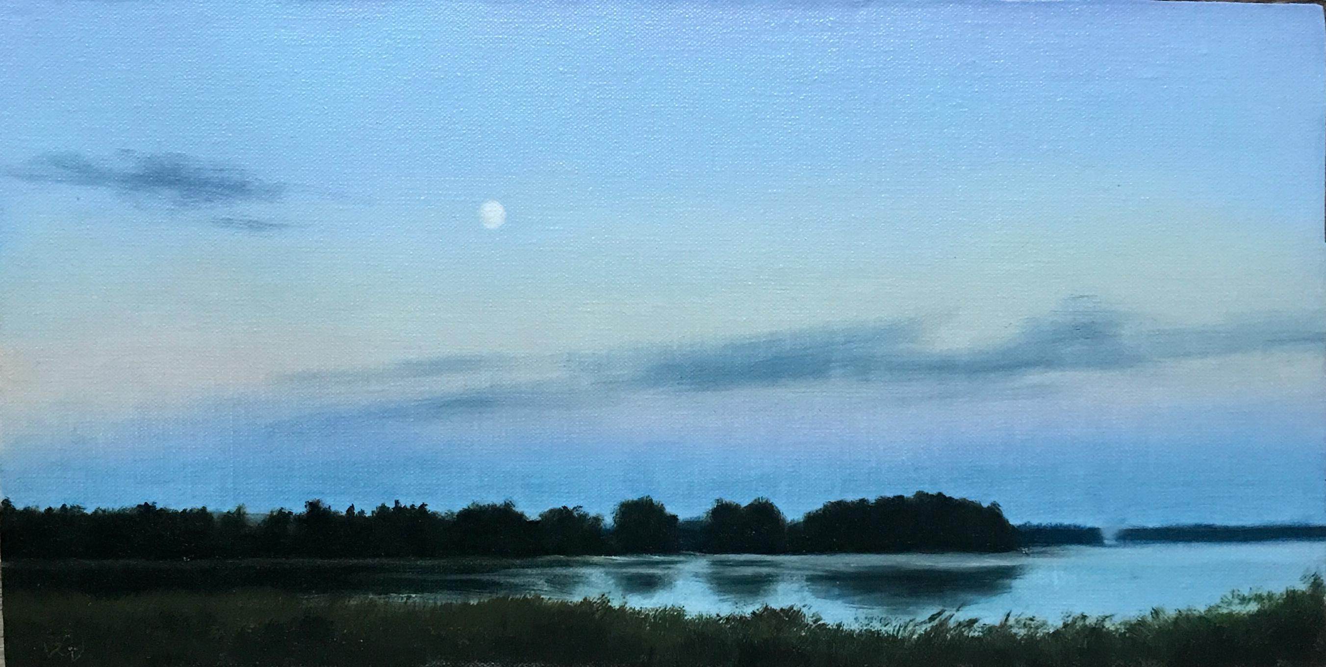 Finnish Landscape, Moon Over a Lake 2, Rafael Guerra Painting Pintura
