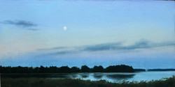 Finnish Landscape, Moon Over a Lake 2, Rafael Guerra Painting Pintura