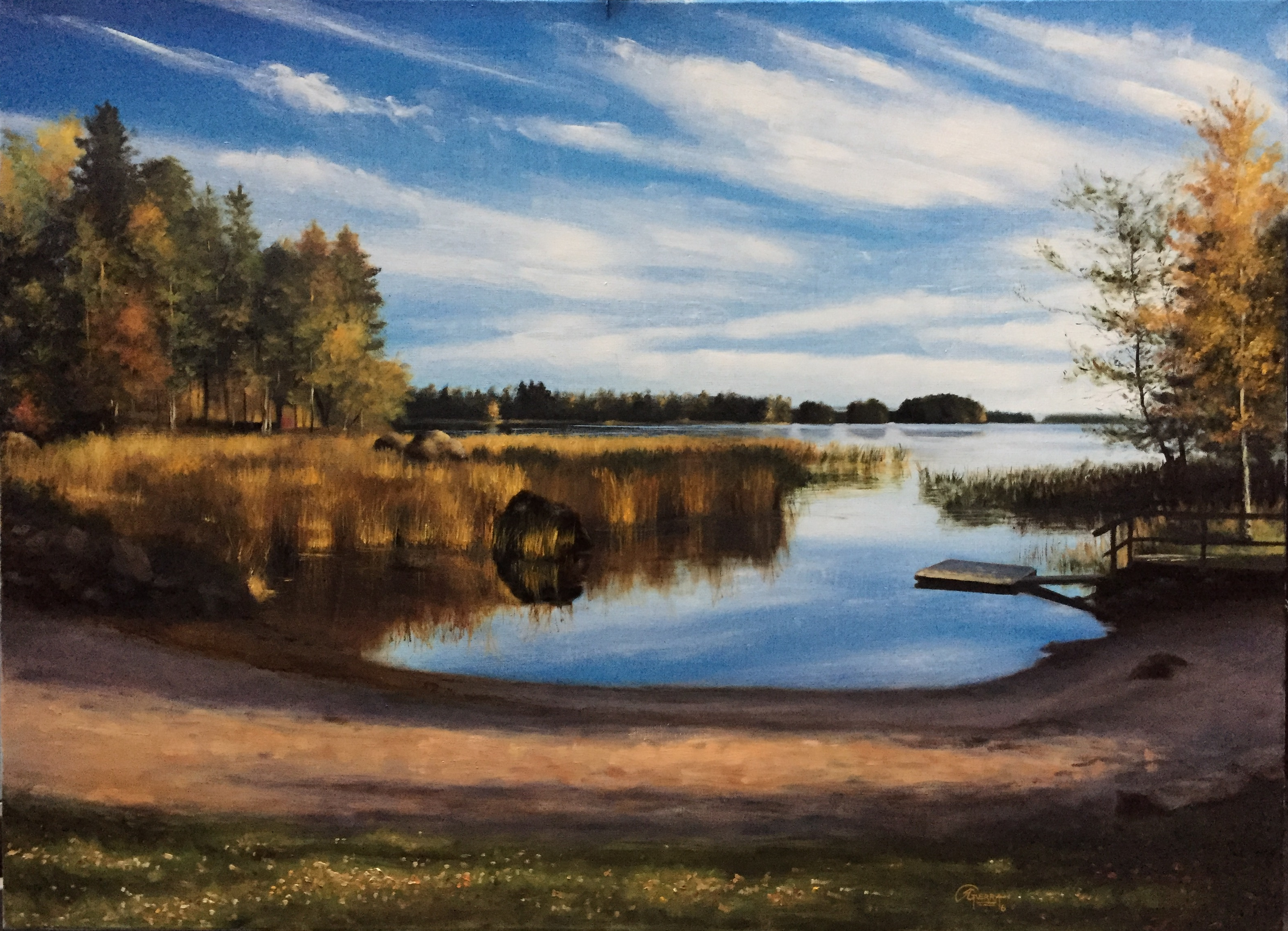 A Lake in Finland During Autumn, Rafael Guerra Painting