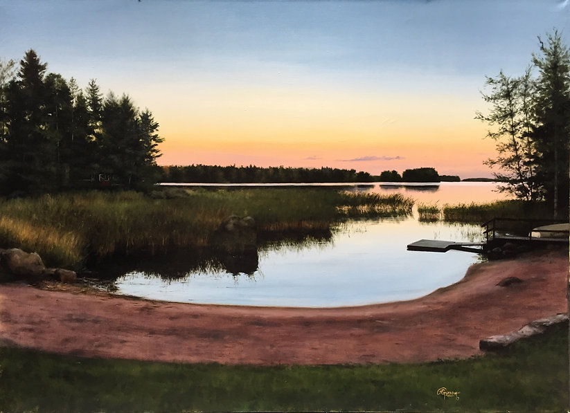 Rafael Guerra Painting A Lake in Finland in a Summer Evening oil on canvas