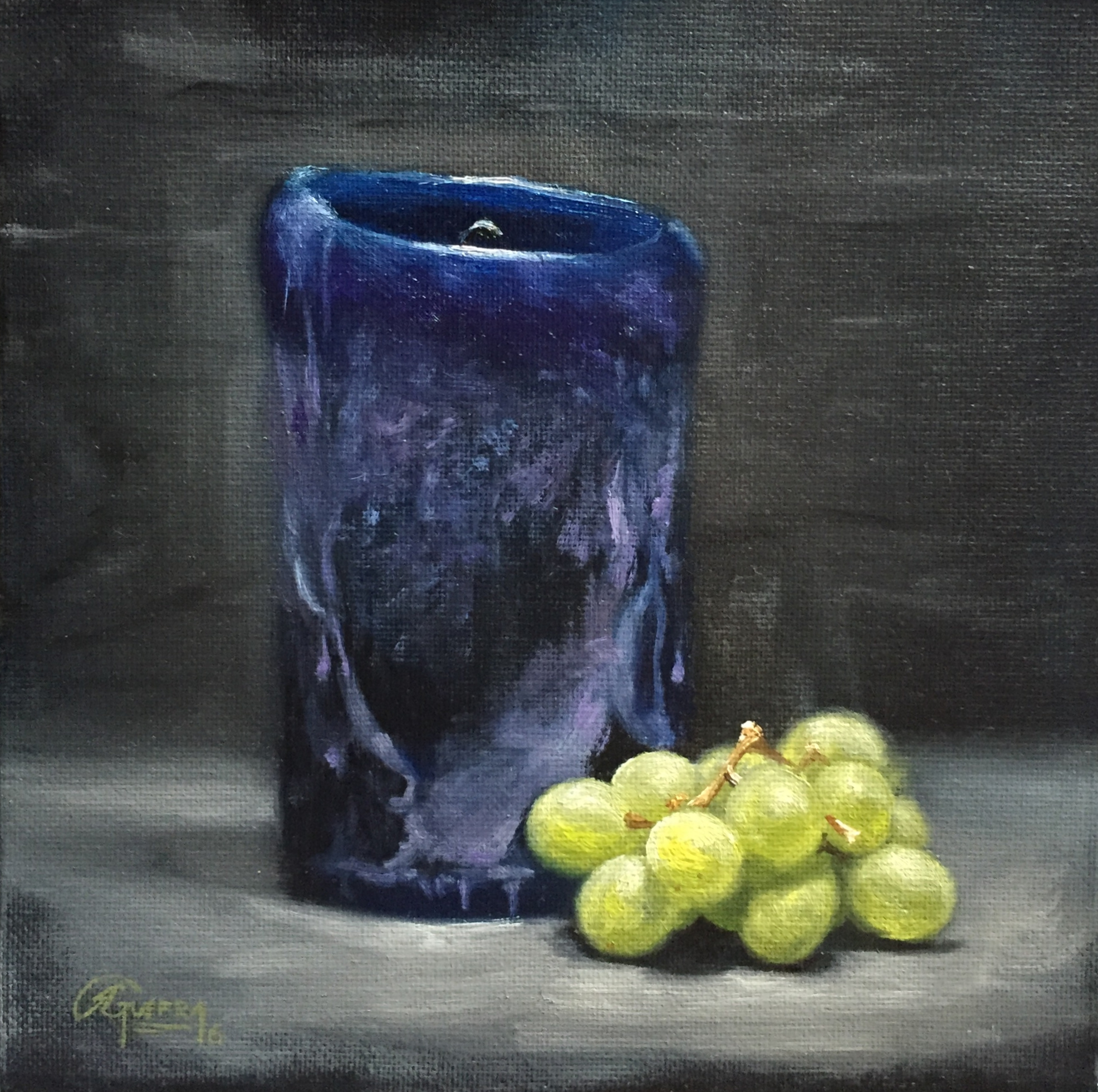 Blue Candle and Green Grapes