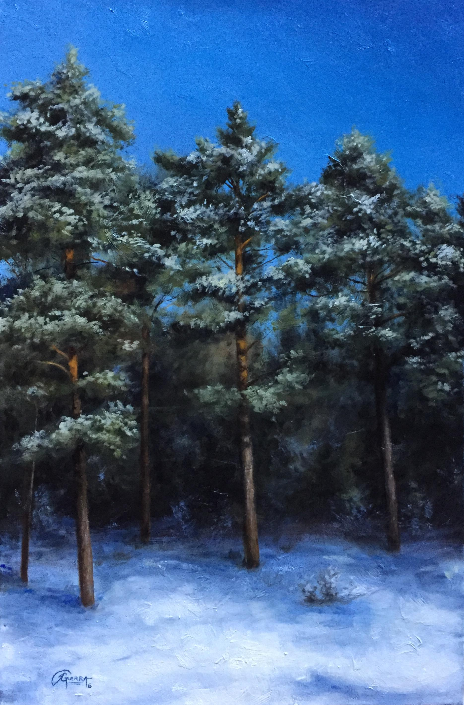Finnish Pine Trees in Winter, Rafael Guerra Painting
