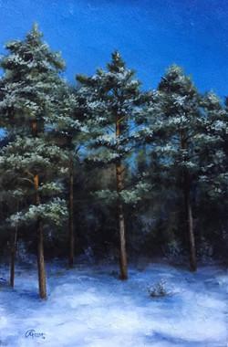 Finnish Pine Trees in Winter, Rafael Guerra Painting