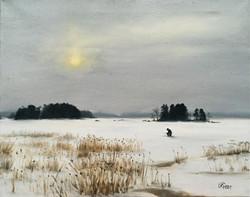 Ice Fishing, Rafael Guerra Painting Pintura