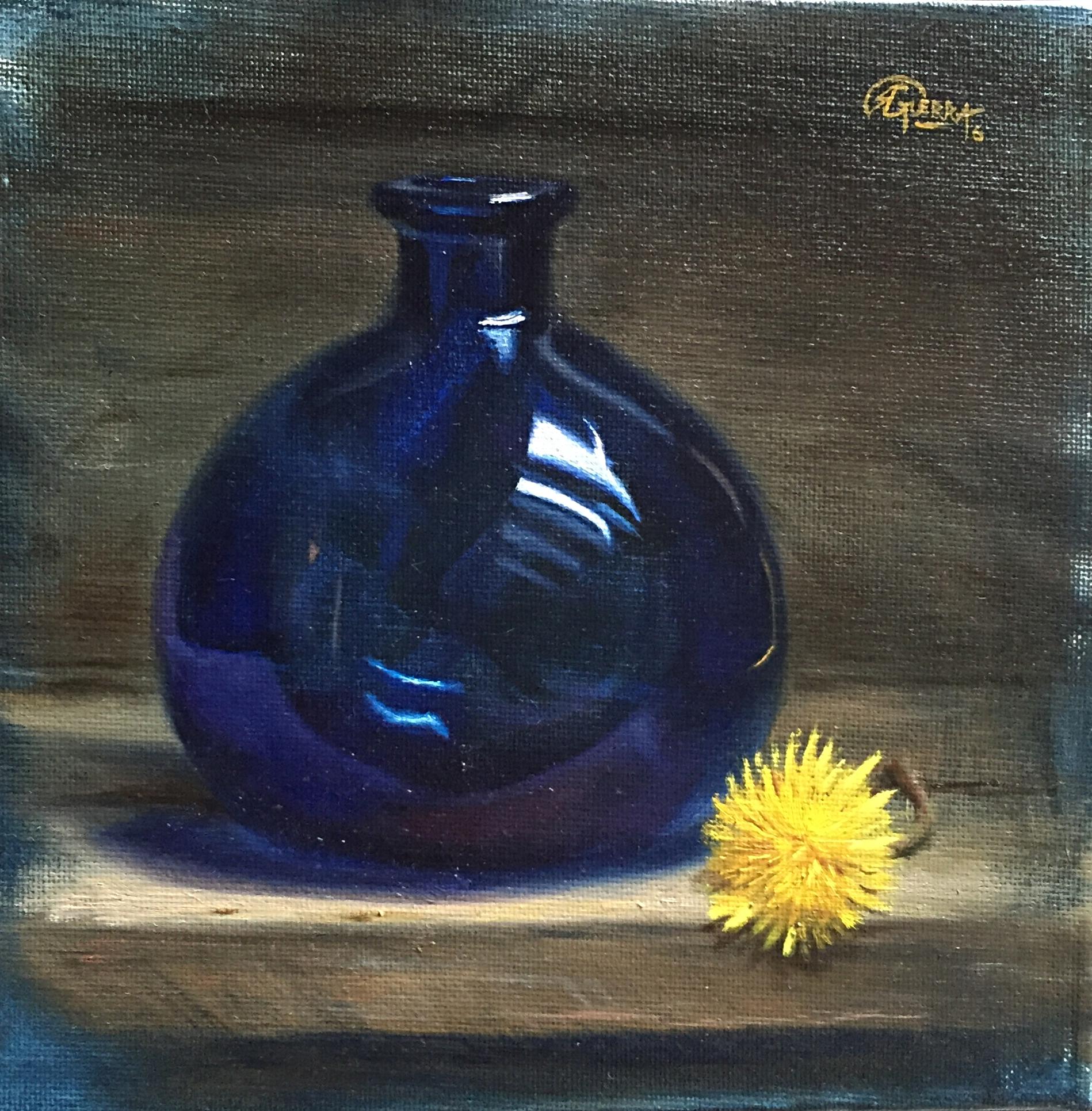Blue Glass Vase and Dandelion Flower