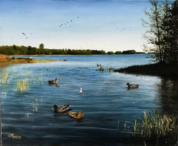 A Lake in Finland in Early Spring, Rafael Guerra Painting Pintura