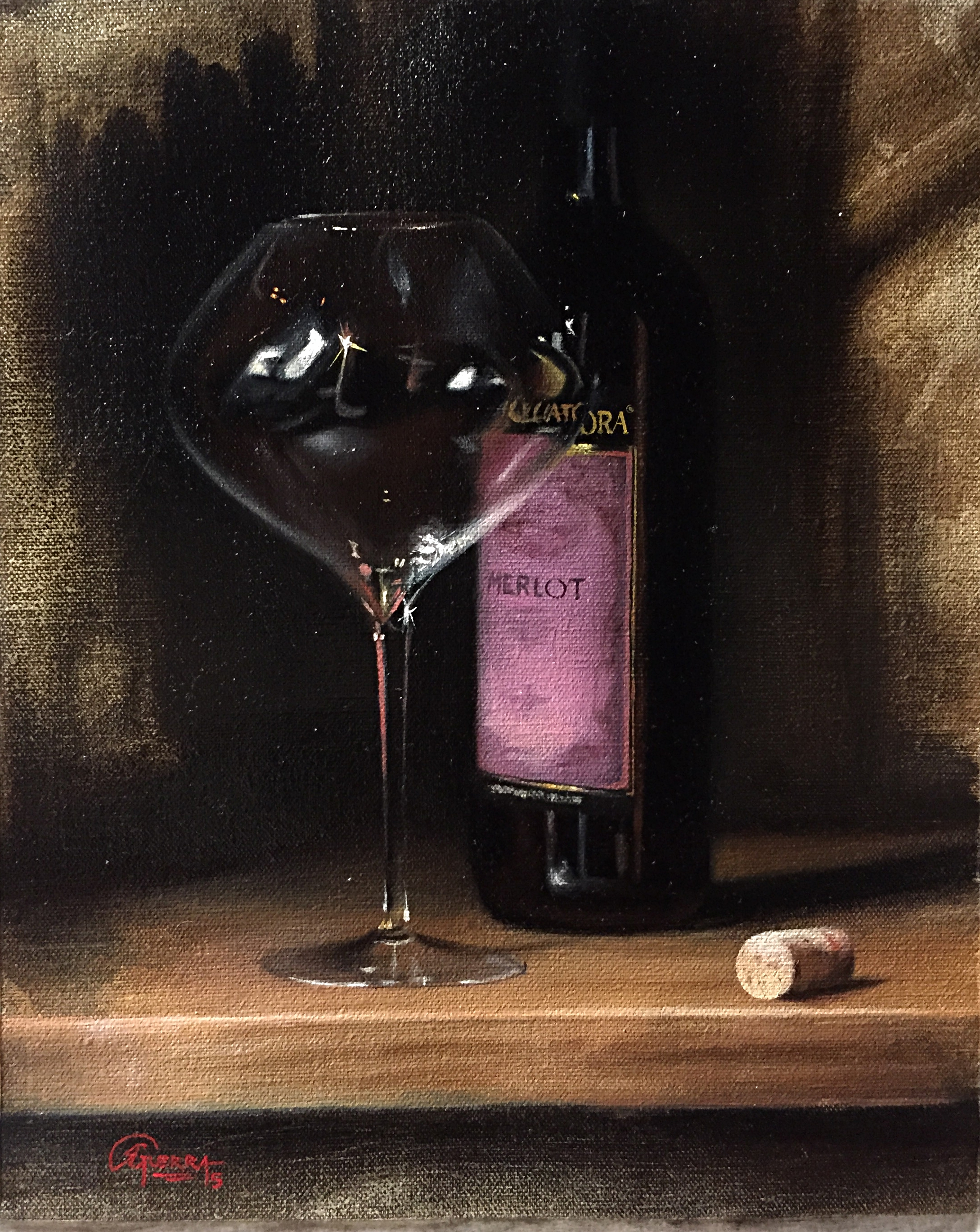 Wine Glass Study - Merlot, Rafael Guerra Painting Pintura