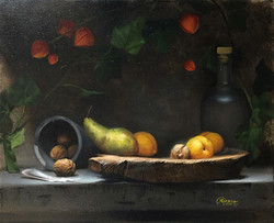 Green Pear and Yellow Plums, Rafael Guerra Painting