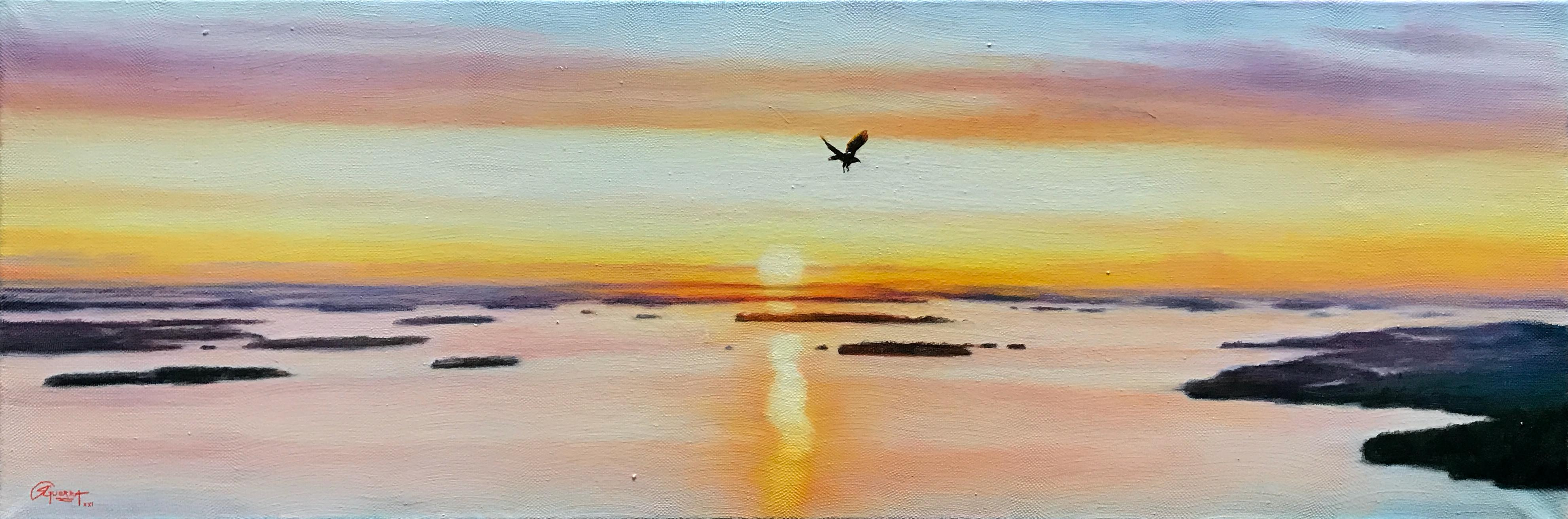 Finnish Sunset with Flying Eagle, Rafael Guerra Painting