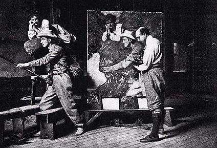 Charles Wellington Furse, in the studio, working on the painting, Mr. and Mrs. Oliver Fishing the River Laerdel in Norway (1903) using the sight-size method