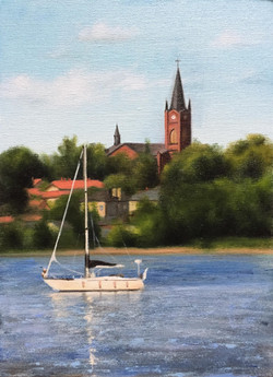 Loviisa Bay with Boat, Rafael Guerra Painting Pintura