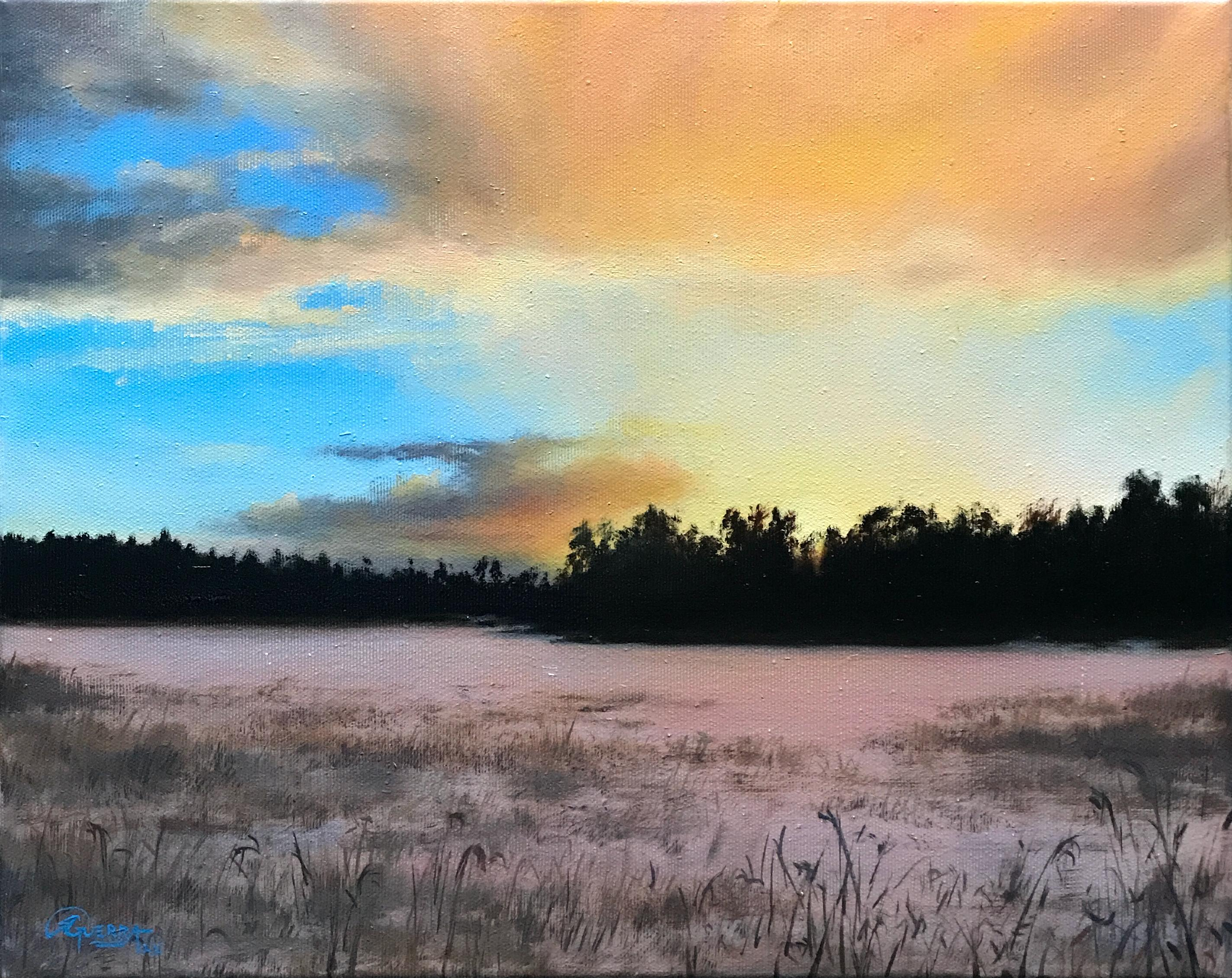 Sunset with Yellow Clouds, Rafael Guerra Painting Pintura
