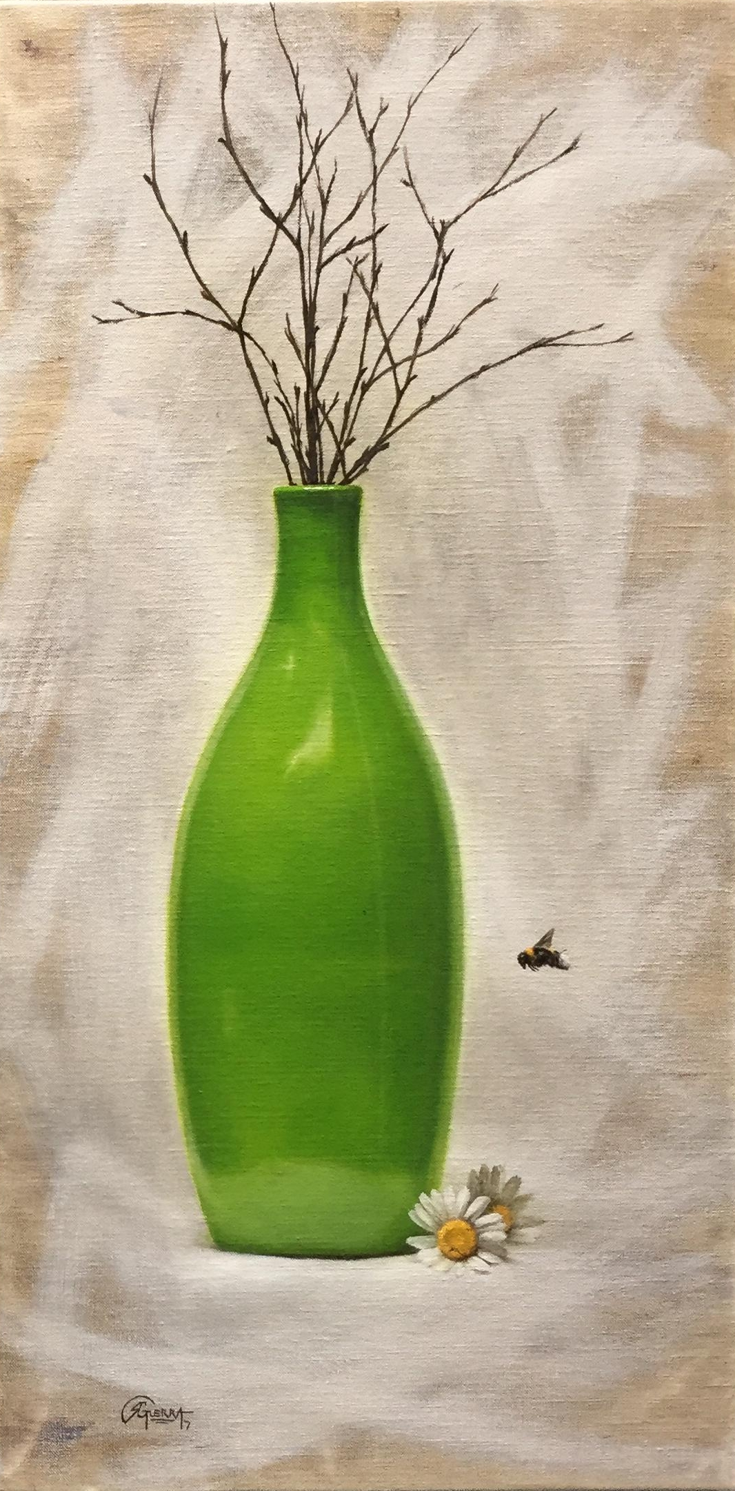 The Green Vase and the Bee, Rafael Guerra Painting