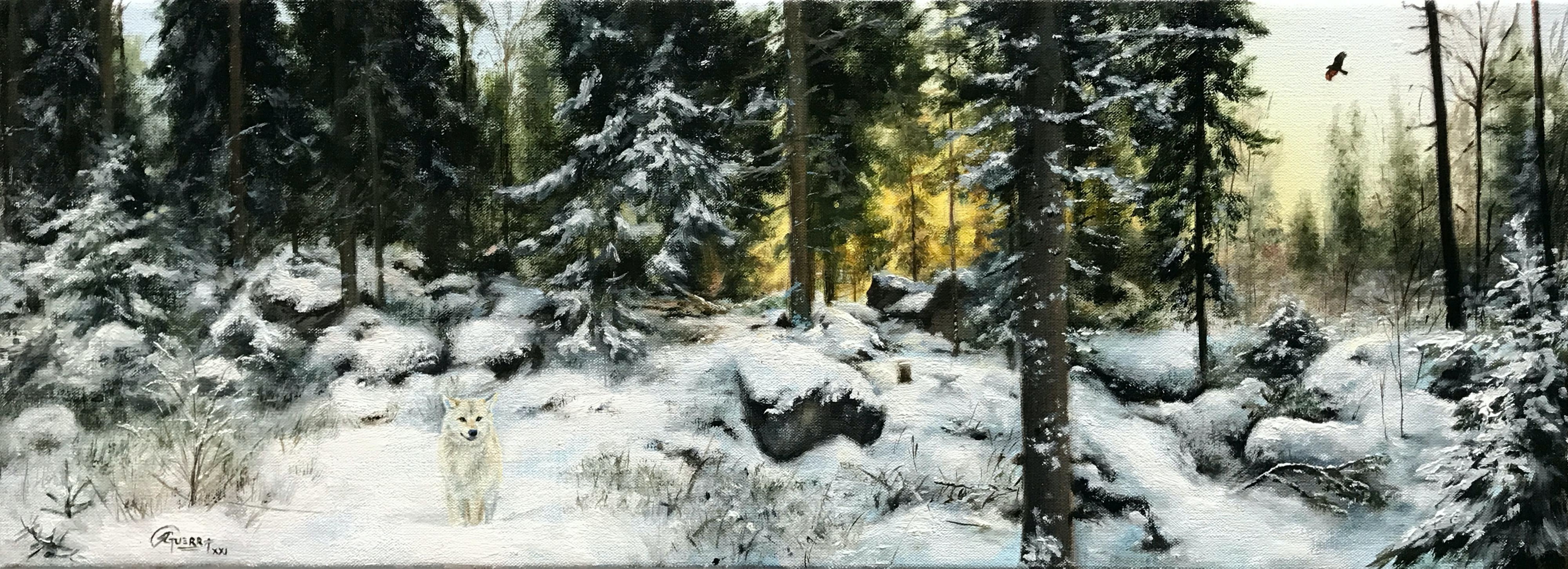 Winter Forest with Wolf and Eagle, Rafael Guerra Painting