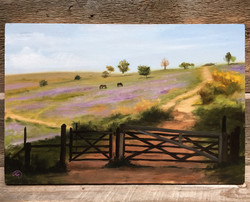 England, Mendip Hills with Horses, Rafael Guerra Painting Pintura