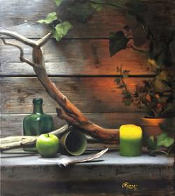 Green Candle & Green Apple, Rafael Guerra Painting Pintura
