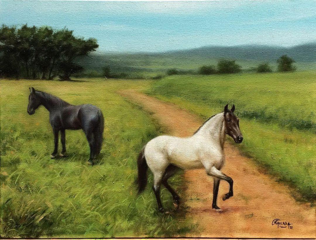 Paisagem Brasileira com Cavalos, Fazenda, Rafael Guerra Pintura