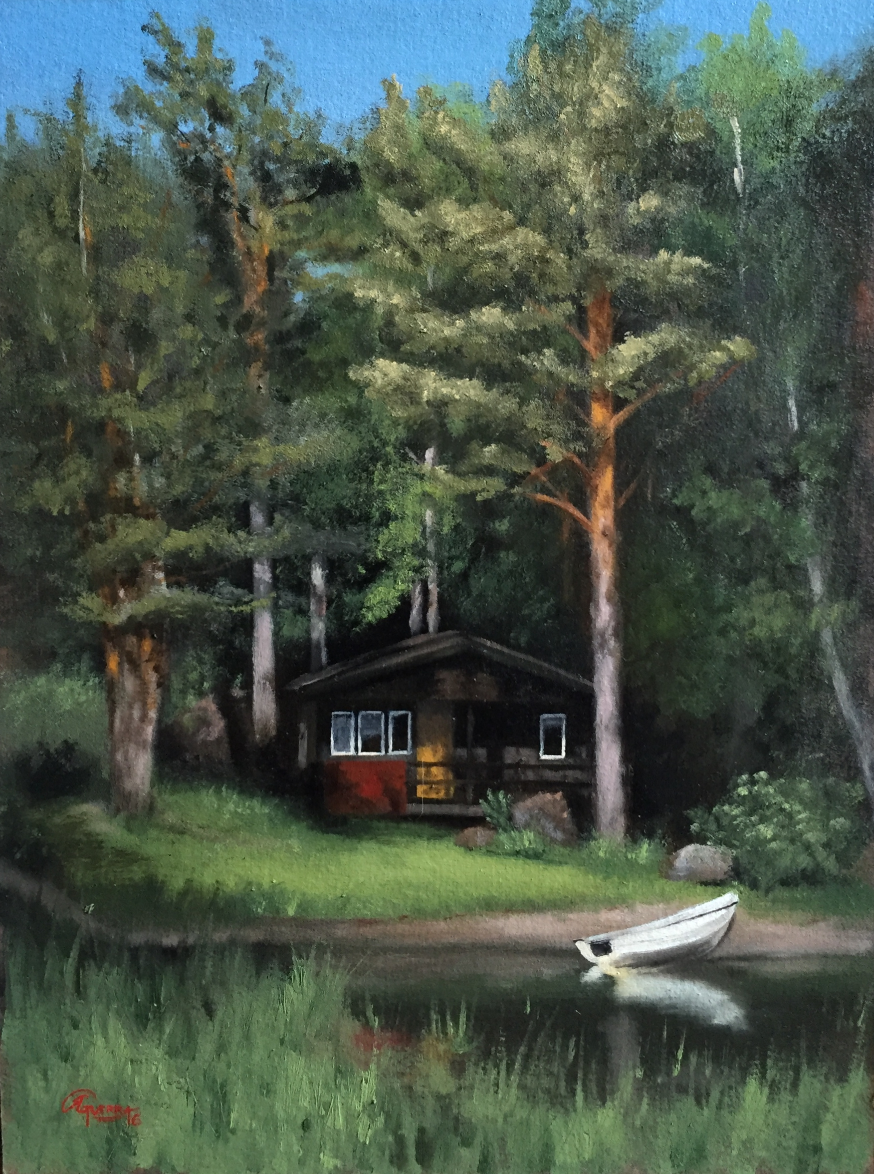 A Finnish Sauna in Middle Spring, Rafael Guerra Painting
