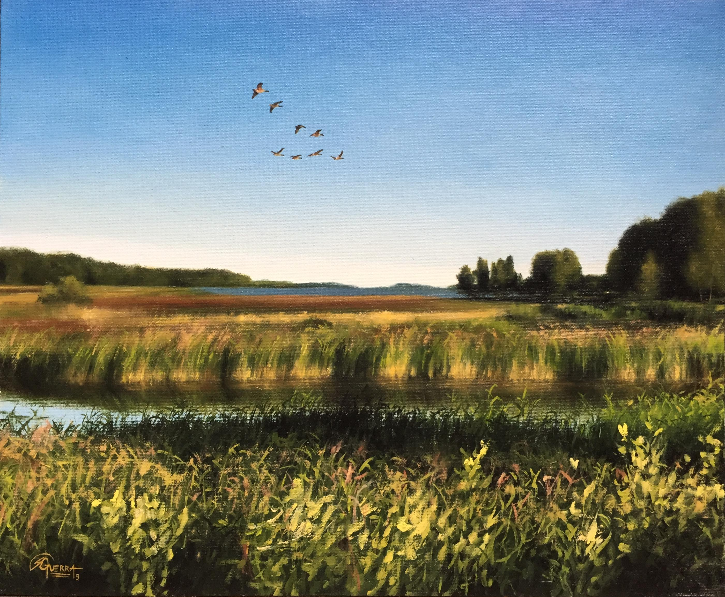 Loviisa Bay with Flying Geese, Rafael Guerra Painting