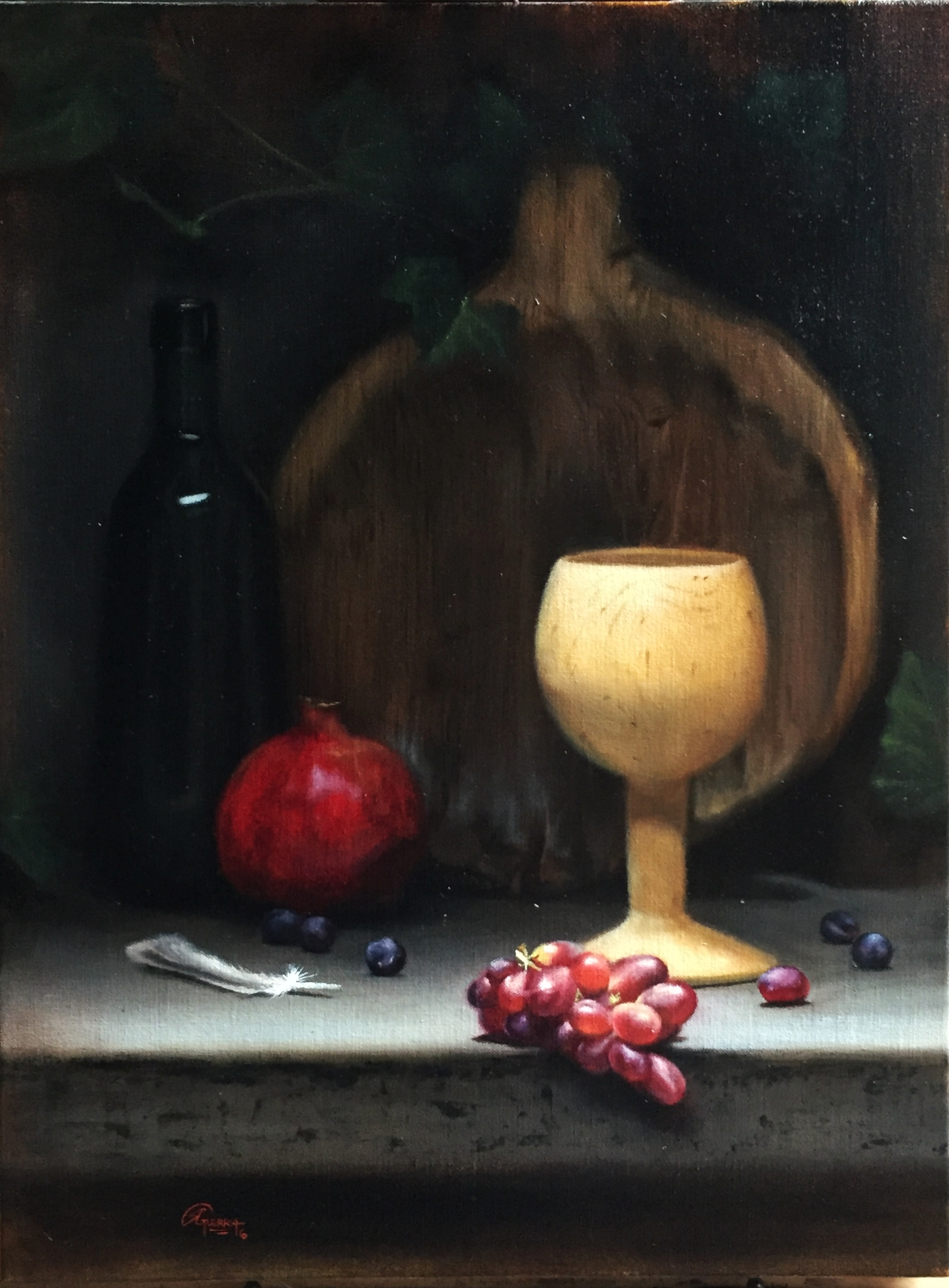 Pomegranate and Red Grapes, Rafael Guerra Painting