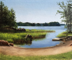 A Lake in Finland in Middle Spring, Rafael Guerra Painting Pintura