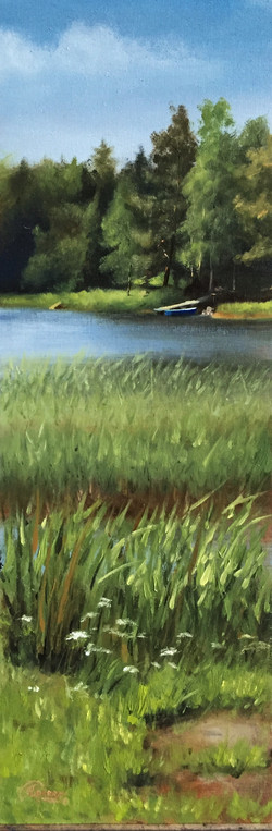 A Lake in Middle Spring on a Sunny D, Rafael Guerra Painting Pintura