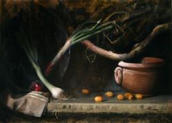 The Orange Tomatoes, Rafael Guerra Painting Pintura