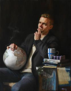 The Traveler, Rafael Guerra Painting Pintura