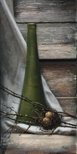 Green Vase, Rafael Guerra Painting Pintura