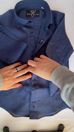 Camicia Magnetica per bambino, lino, blu scuro