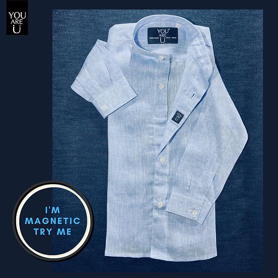 Camicia Magnetica per bambino, lino, celeste, a partire da