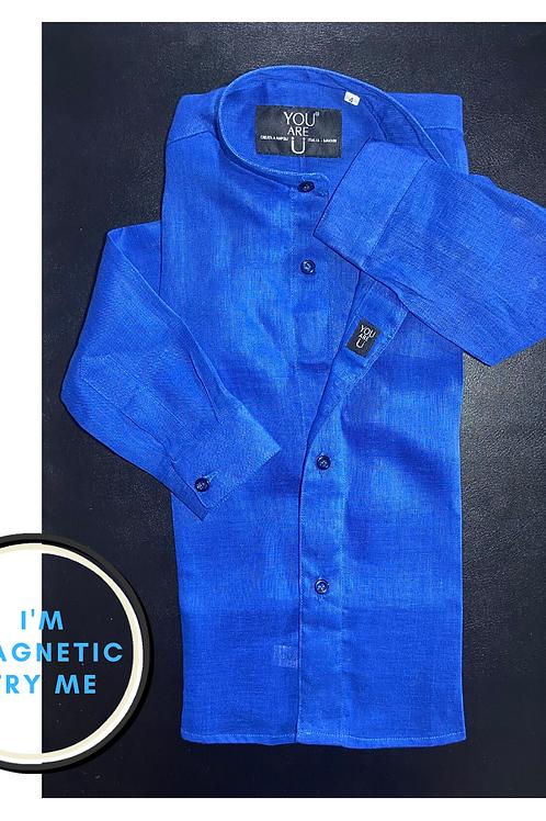 Camicia Magnetica per bambino, lino, blu,   a partire da