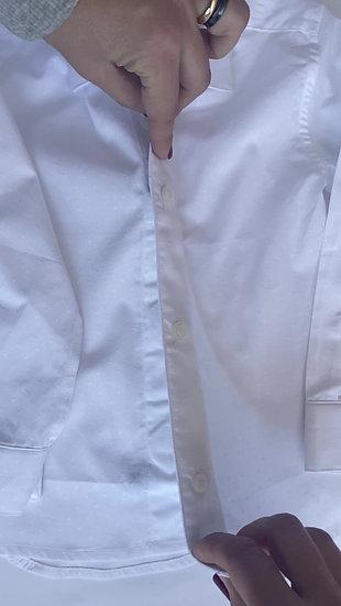Camicia Magnetica per bambino, cotone, bianca con pois,  a partire da