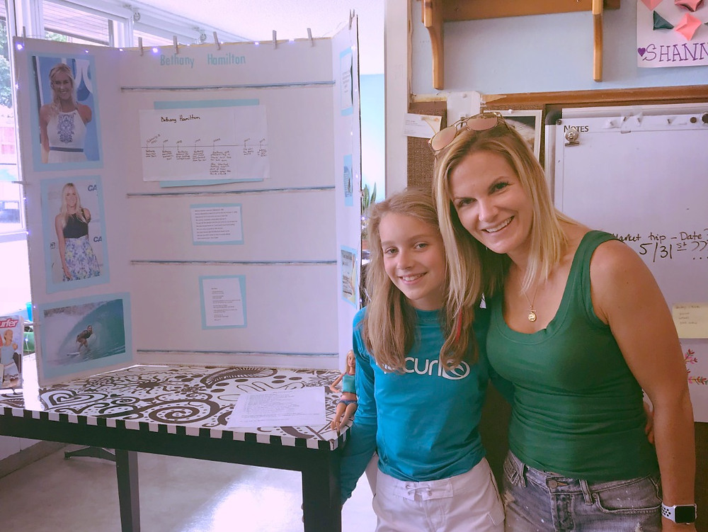 Ryann and I with her School Project on Bethany Hamilton