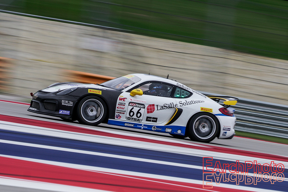 The Porsche on track at Circuit of the Americas