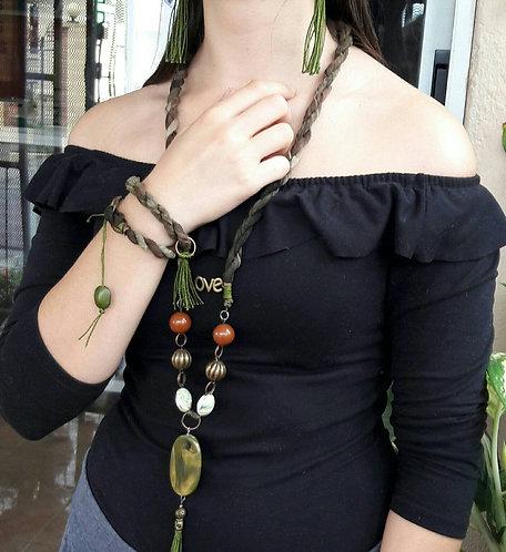 Bohemian jewelry set, Tassel Necklace, Bracelet tassel earrings
