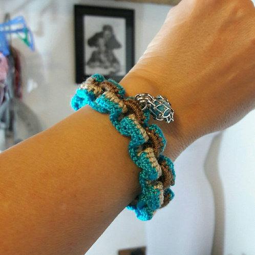 Crochet Yoga bracelet, Lotus flower charm, Crochet Chain bracelet magnetic closu
