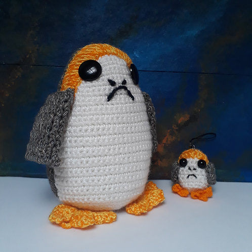 Porg plush Amigurumi, Crochet stuffed Porg, Star Wars doll
