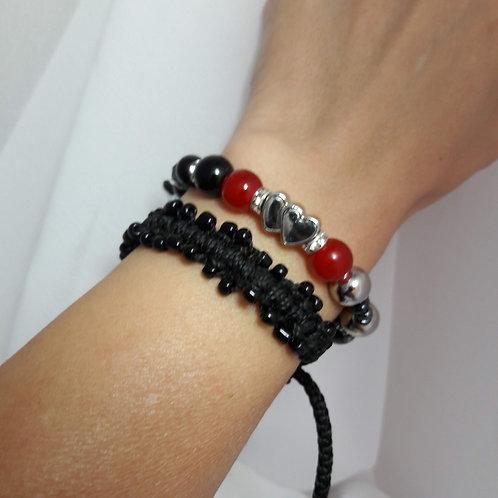 Macrame beaded bracelet, gothic bracelet, gift for her, womens bracelet