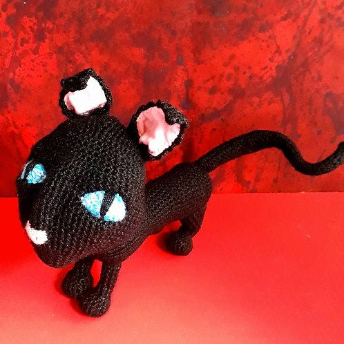 Crochet Coraline Cat, Creepy Black Cat, Amigurumi plush doll