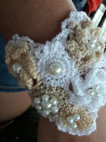 Wedding bracelet, beaded bracelet, bridal woven cuff