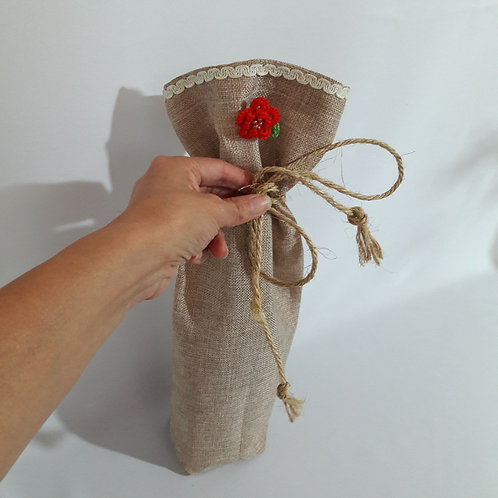 Jute bottle holder,  wine fabric carrier bottle Cover Bag
