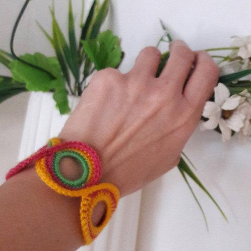 African bracelet, ethnic crochet boho bracelet