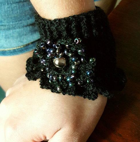 Gothic bracelet, crochet cuff knitted bracelet