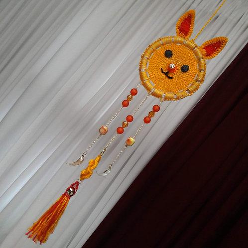 crochet bunny  dreamcatcher, nursery decor home wall hanging