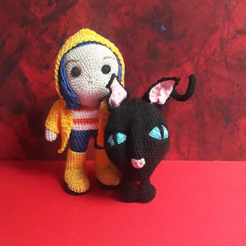 Crochet Coraline and Creepy Cat, Amigurumi plush doll