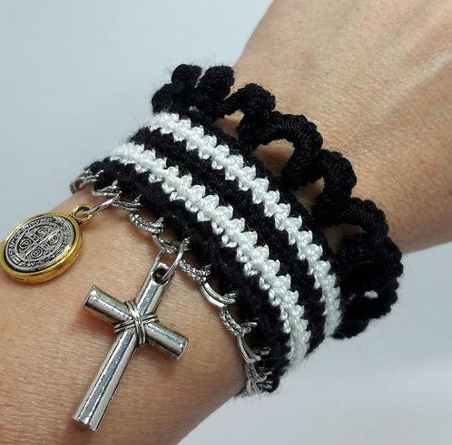 St Benedict bracelet, cross bracelet, woven bracelet