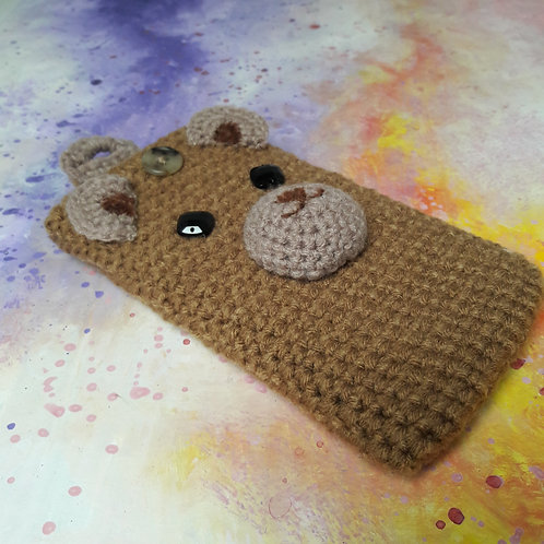 Phone cover purse, Tedy bear crochet cell carrier case, cell cozy sleeve