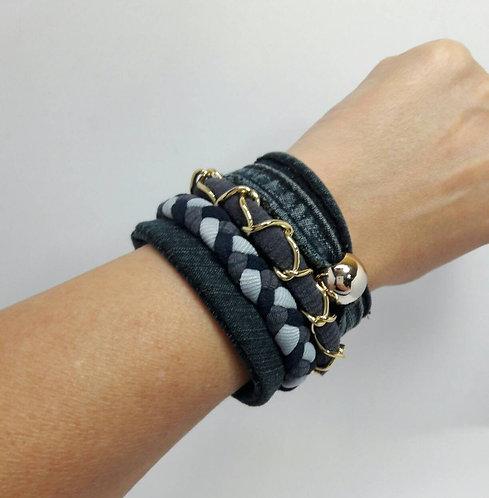 Denim bracelet, braided bracelet, gift for girl