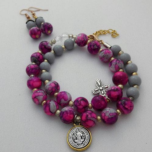 Wrap beaded bracelet, St Benedict bracelet, Religious bracelet